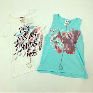 NEW Girls Butterfly Tank Top w/ Necklaces Large